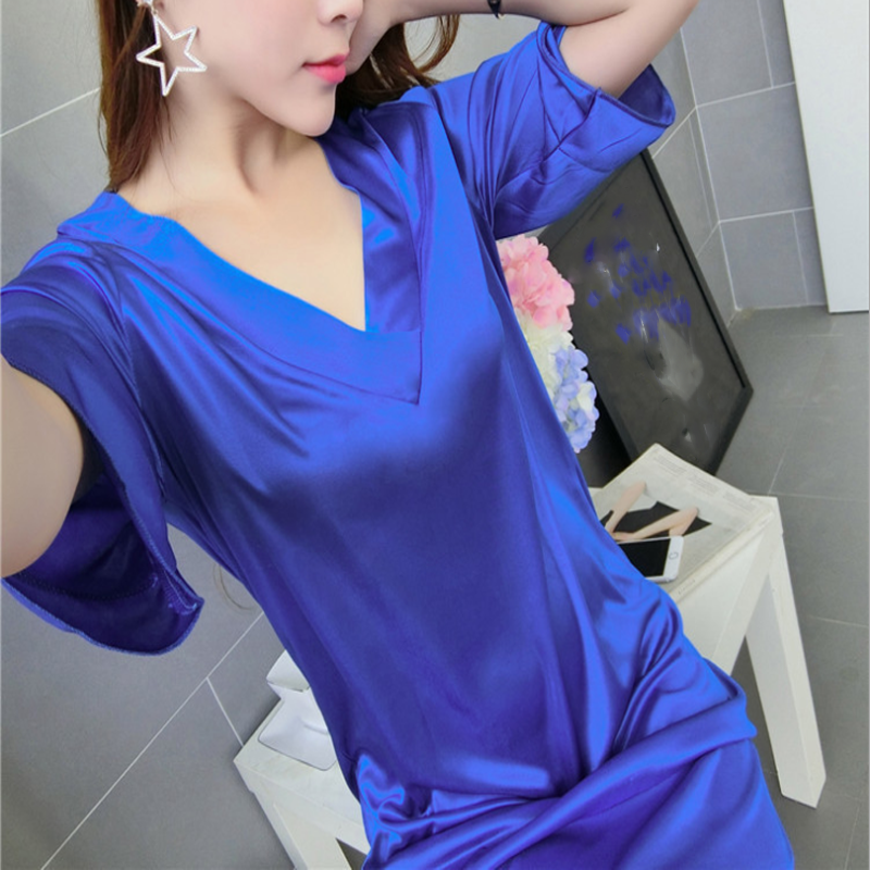 2018 Fashion Sexy Soft Faux Silk Women's   Sleepshirts     Nightgown   V-Neck Lady Sexy Nightdress Female Casual Sleepwear Gifts
