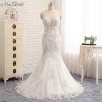 Vestido De Noiva Barato 2018 New Fashion Wedding Dresses Mermaid Beaded Appliques Sleeveless Bridal Gown