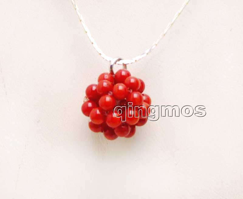 Big 18-20mm Red Natural 4-5mm Coral handwork Weaving Round Ball Pendant with Silver plated chain 17'' Necklace-nec6202