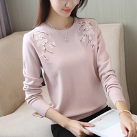 Free Shipping Floral Embroidery Knitting Elastic Autumn Winter Casual Solid Korean Sweater Women Clothes Long Sleeve Pullover