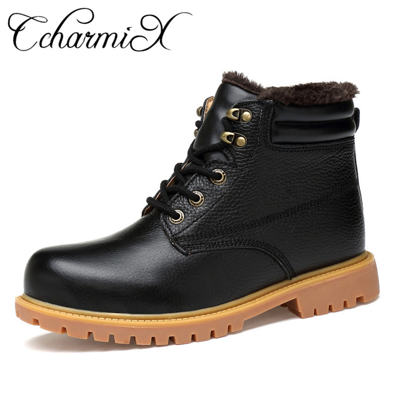 CcharmiX Men Natural Cow Leather Boots Shoes Winter Warm Fur Ankle Snow Boots For Males Fashion Men Shoes Work Shoes Big Size 48 ccharmix big size 38 47 men boots genuine leather winter boots shoes men warm furry zipper boots men fashion ankle snow boots