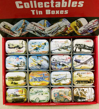 32pc/box Military design Tin Box Mini Metal Coin Saver Small Jewerly collect Case Pill case 16 designs Chocolate GD20