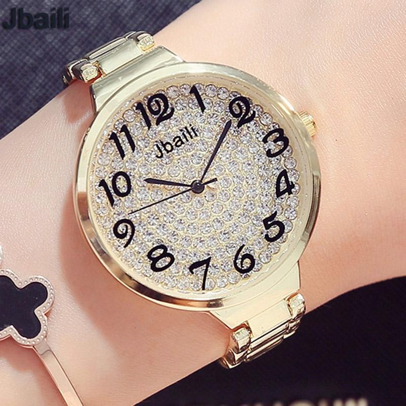Rose Golden Bracelet Women Watches Luxury Diamond-studded Simple Dial Fashion Laides Women Quartz Wristwatches relogio feminino women s fashion crystal studded elastic bracelet golden purple