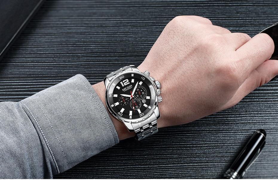 HTB1ZAnUXHZnBKNjSZFKq6AGOVXap Megir Men's Gold Stainless Steel Quartz Watches Business Chronograph Analgue Wristwatch for Man Waterproof Luminous 2068GGD-2N3