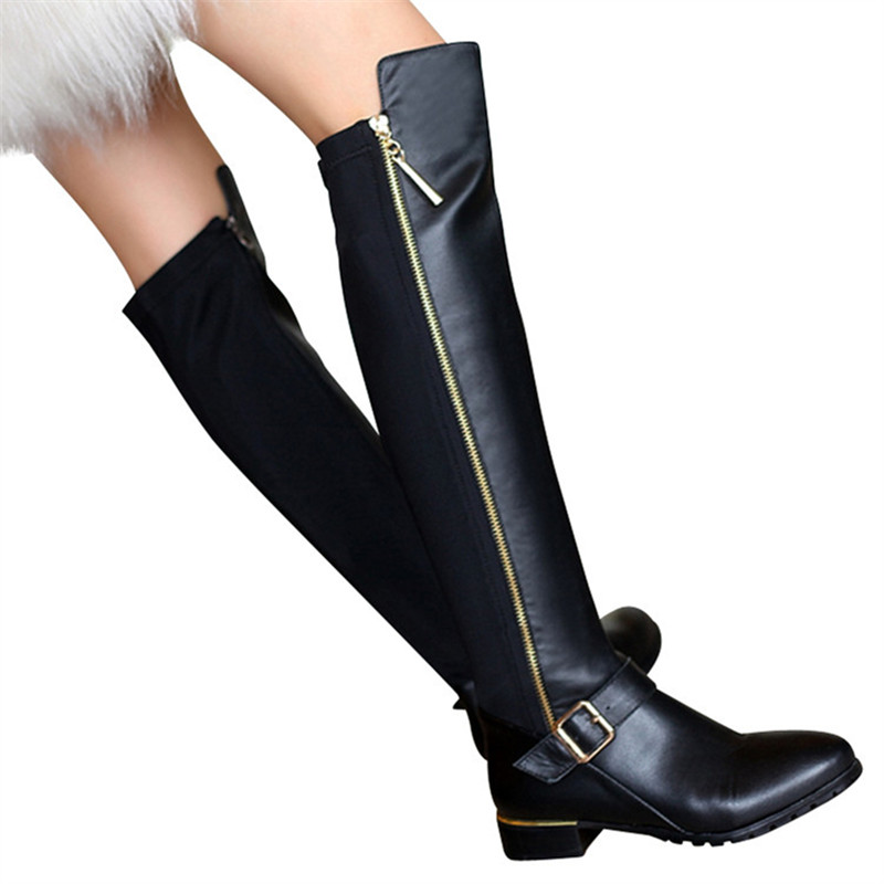 d4323891b MORAZORA 2019 New genuine leather boots buckle zipper knee high boots  autumn winter stratch women boots fashion shoes female