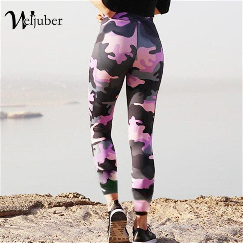 Weljuber Gravures Camo Leggings 2018 Femmes Push Up Hanches Leggings Sexy Haute Élastique Maigre Entraînement Pantalon