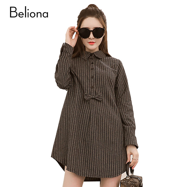 Bow-knot Stripes Maternity Blouses Long Sleeve Pregnancy Tops Spring Pregnant Shirt Materntiy Clothes for Pregnant Women