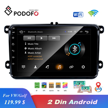 """האיחוד האירופי מחסן Podofo 8 """"2din רכב אנדרואיד רדיו GPS Navi Autoradio USB נגן עבור פולקסווגן EOS גולף 5 6 טוראן Caddy Jetta Tiguan Canbus"""