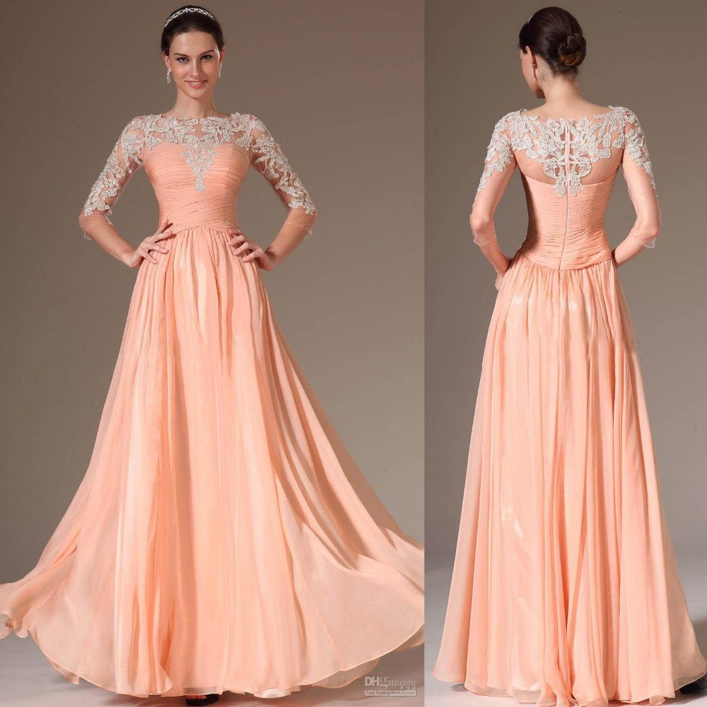Peach Colour Prom Dresses 2015 Bateau Neck Lace Long Illusion Sleeve