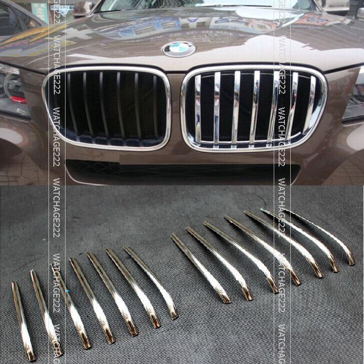 Accessories 14PCS FIT FOR 2014 BMW X5 F15 CHROME MESH GRILLE GRILL BUMPER COVER TRIM MOLDING GARNISH BONNET accessories for bmw x5 f15 2014 2016 x6 f16 2014 2017 abs rear armrest box decoration molding cover trim 2 pcs set