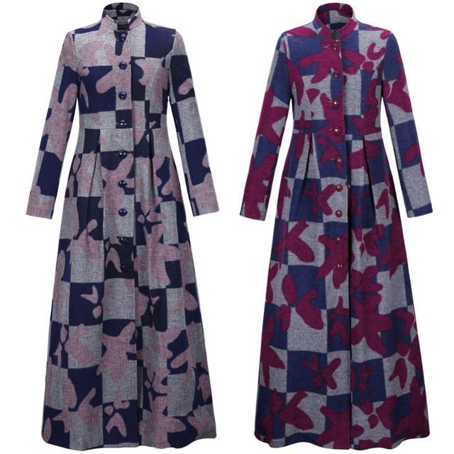 2015 casaco de lã para as mulheres vestuário Islâmico Muçulmano longo brasão plus size quente outwear roupas meninas elegância djellaba