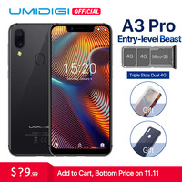UMIDIGI A3 Pro Global Band 5.719:9 FullScreen smartphone 3GB+32GB Quad core Android 8.1 12MP+5MP Face Unlock Dual 4G Cell phone