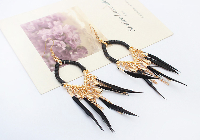 Black Feather Earrings Gold