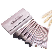 High Quality 12Pcs Makeup Brush Set Synthetic Goat Hair Powder Foundation Blush Eyeshadow Blending Lip Brush Kit with Bag Purple free shipping 2013 new arrival 12pcs natural goat hair purple makeup brushes sets with free pu leather cylinder dropship