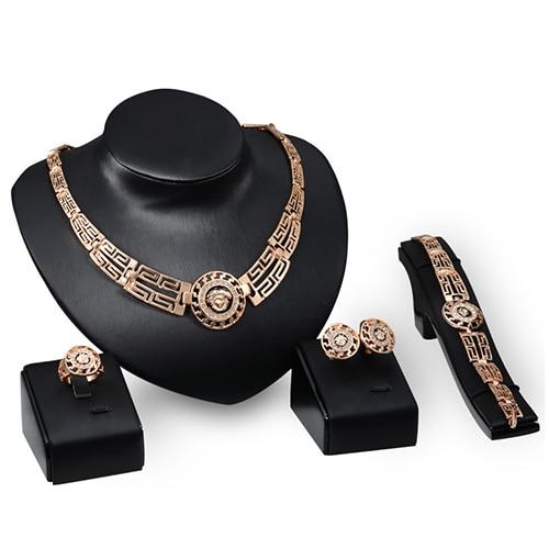 יוקרה חתונה מסיבת משתה חלול ראש עגול צווארון שרשרת צמיד טבעת עגילי סט אלגנטי תכשיטי סט נשים ולנטיין מתנה