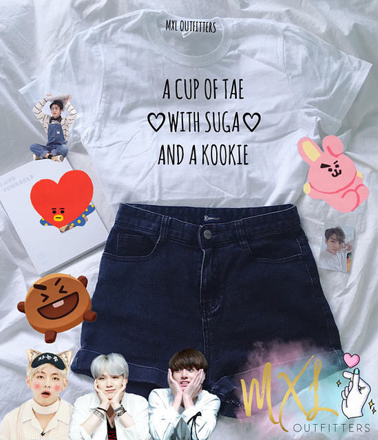 c55af7f5c54 OKOUFEN BTS KPOP A CUP OF TAE WITH Suga AND A Kookie T Shirt fashion ...