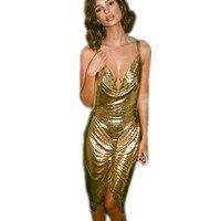 مثير عميق الخامس اللباس 2017 إمرأة جديد قصير مساء حزب فساتين الذهب والفضة البريق يلمع الأزياء والملابس يلة الرسن hot