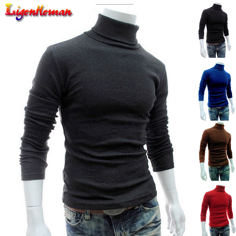 New Mens Basic Style Sweaters Clothing Knitted Pullovers Men Turtleneck Sweater Long Sleeve Solid Slim Fit Thin Knitted Pullover
