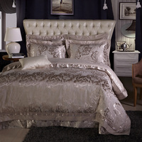Smooth Embroidery Jacquard bedding sets satin cotton flower bed linens duvet cover 4/5pcs queen full king sizes bedspread 600tc
