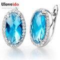 Nuevo 2016 Grandes Plateados Plata Azul Cristalino Verde de La Boda de Largo aretes Y Joyería de Moda CZ Diamond para Las Mujeres con Las Piedras R766