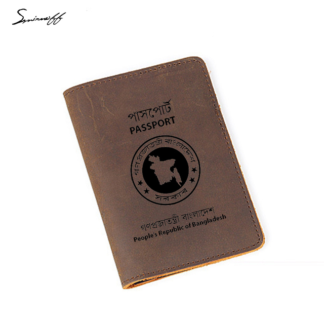 cd73084d7 Travel Leather Passport Cover Custom Name Simple Card Holders Case Engraved  Bangladesh Passport Holder