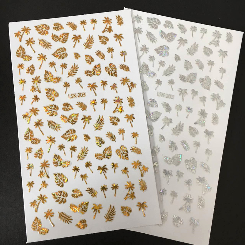 Newest LSIKA LSK-202-203-79 GOLD SILVER leaves series laser designs3d nail art letter fashionTemplate sticker decal  MAGICO sonex blanketa gold 202