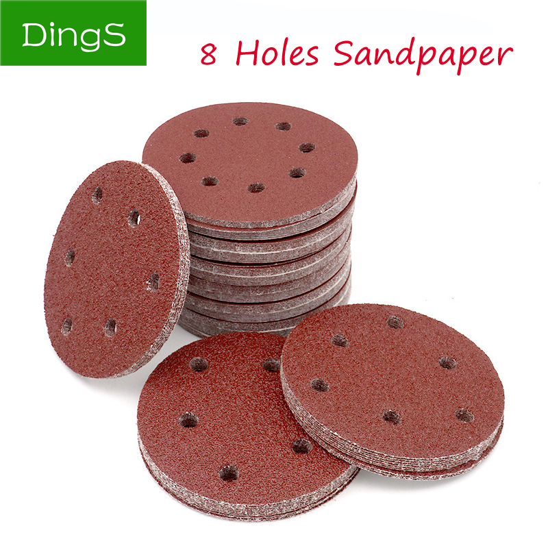 20pcs 5 Inch 125mm Self Adhesive Round Sandpaper Eight Hole Disk Sand Sheets Grit 40 ~ 2000 Hook And Loop Sanding Disc Polish
