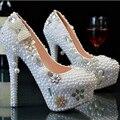 Cutsom White Pearls Bowtie Pendant Shoes High Heels 9CM/11CM/14CM Bridal Shoes White Plus Size Eu34-45     No.008