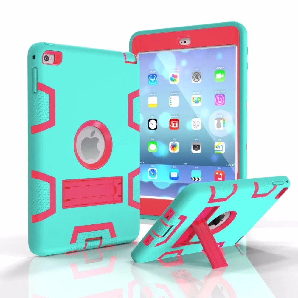 Case For iPad mini 4 Cover Retina Kids Baby Safe Armor Shockproof Heavy Duty Silicone Hard Case Cover Screen Protector Film for ipad mini 4 retina kids safe armor shockproof heavy duty silicone hard case cover w screen protector film stylus pen