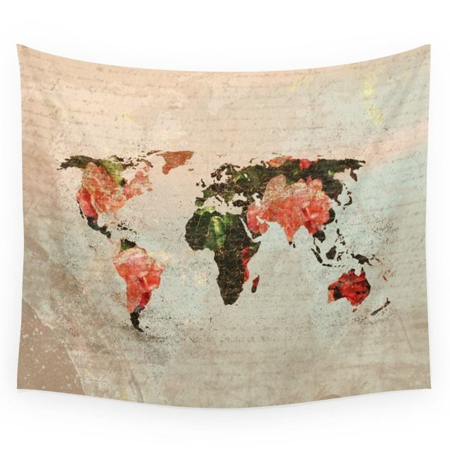 Vintage world map wall tapestry wall hanging throw bohemian door vintage world map wall tapestry wall hanging throw bohemian door curtain gumiabroncs Images