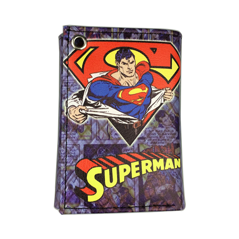 DC Comics Superman Wallets Cartoon Movie Anime 3 Folder Purse PU Leather Card Holder Money Bags Gift Kids Casual Short Wallet