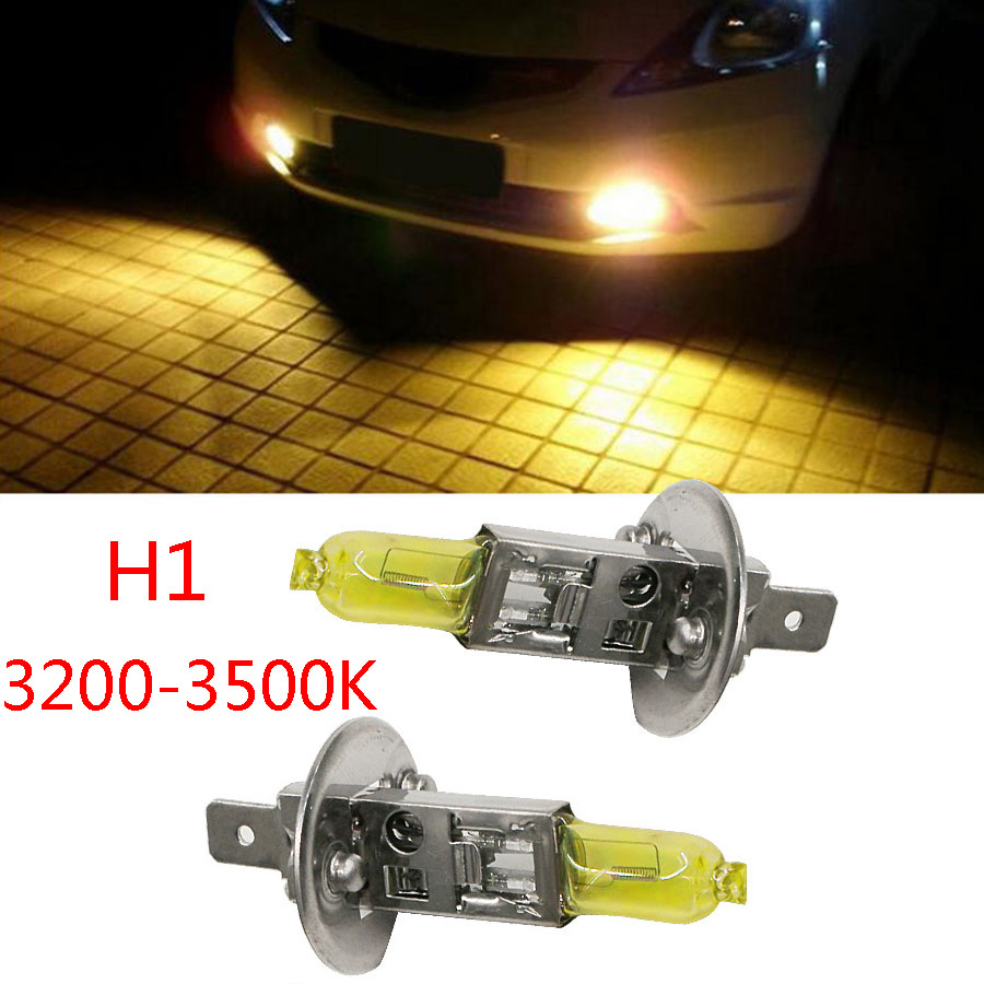 HYZHAUTO 2Pcs H1 55W Halogen Light  Bulbs Yellow Amber 3200K-3500K Quartz Glass Auto Car Halogen Headlight Fog Lamp DC12V