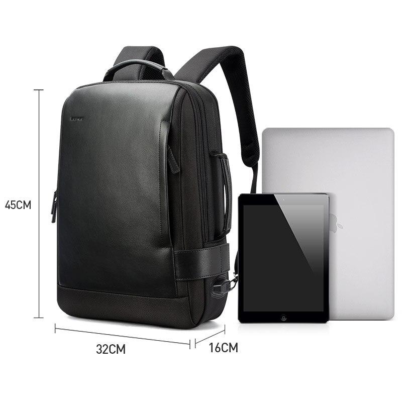 15.6 Pouces tapis absorbant Noir De Contraction sac à dos en cuir pour Hommes USB De Charge Mâle sac à dos de voyage Nylon hommes sacs à dos - 6