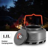 1.1L bouilloire Pot d'eau Portable théière cafetière intérieur sifflement en alliage d'aluminium thé bouilloire en plein air Camping randonnée pique-nique bouilloire