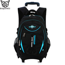 BAIJIAWEI Removable Children School Bags With 6 Wheels For Boys Girls Trolley Backpack Kids Wheeled Bag Bookbag Travel Luggage(China)