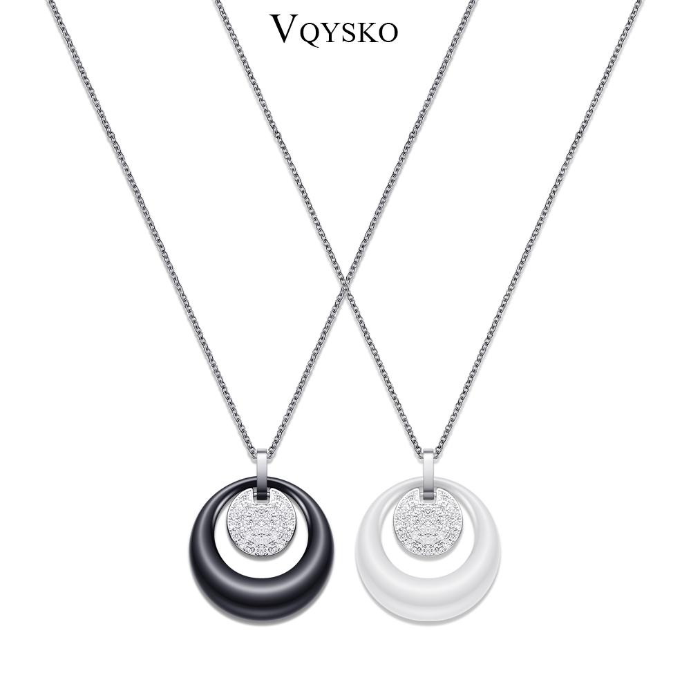 Fashion Double Layers Circle Ceramic Pendant Necklace Crsytal Pendant For Women Rhinestone Black /White Women Ceramic Necklace vintage rhinestone circle necklace for women