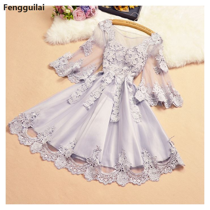New Women's Sweet Lace Mini A-line Fashion White Black Grey Sexy Dresses Party Night Club Dress
