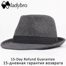 Ladybro caliente sombrero Panamá hombres Otoño Invierno sombrero de ala  corta ala del sombrero masculino sombrero del Jazz de la. 9687fc3045a