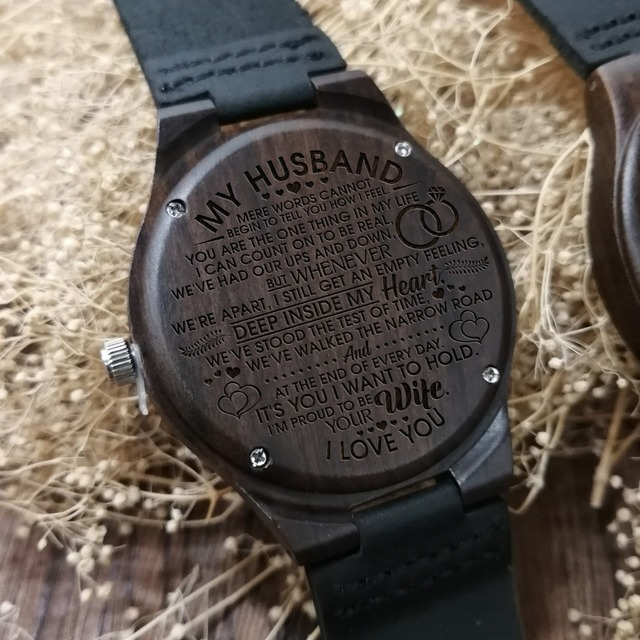 ENGRAVED WOODEN WATCH TO MY HUSBAND I AM PROUD TO BE YOUR WIFE 4