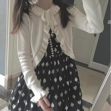 Strap bow long-sleeved knit cardigan sweater