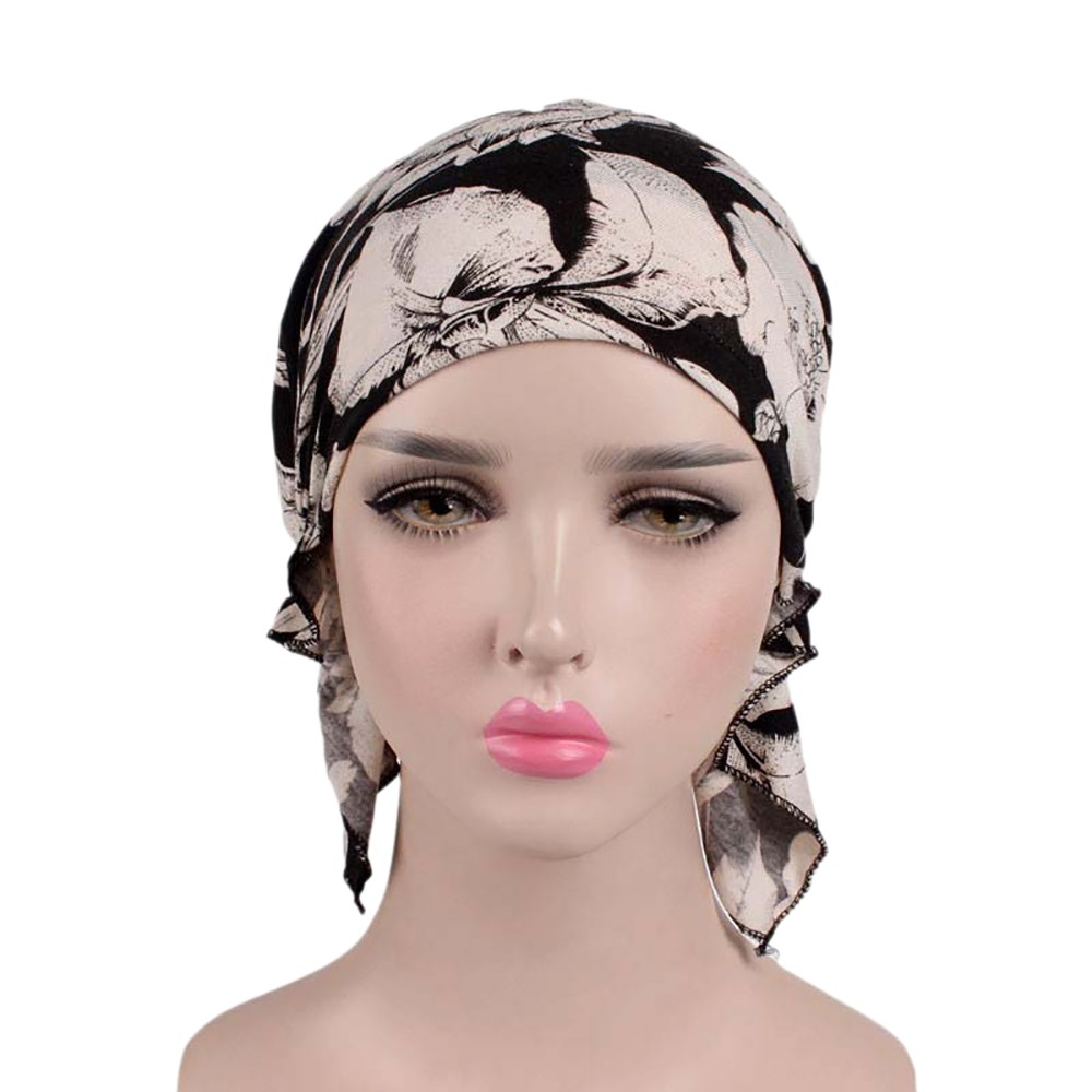 Hot Selling Women India Muslim Elastic Turban Print Cotton Hat Turban Headwear For Cancer Patients Head Scarf For Women A415
