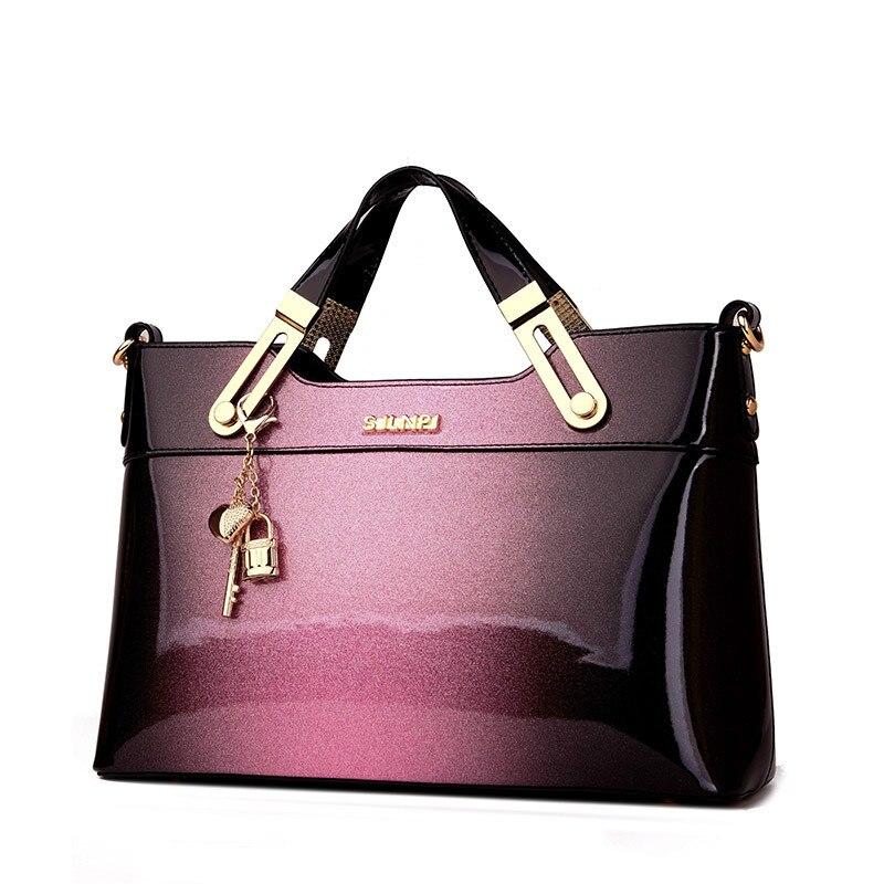 New Luxury Women Leather Handbags Designer Crossbody Bag High Quality Patent Leather Ladies Shoulder Bag Fashion Tote Sac A Main