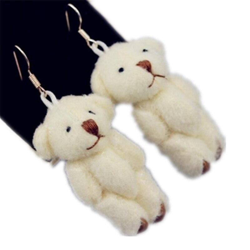 Cartoon bear Students Lovely Sweet Pet Plush Cloth Stud Earrings