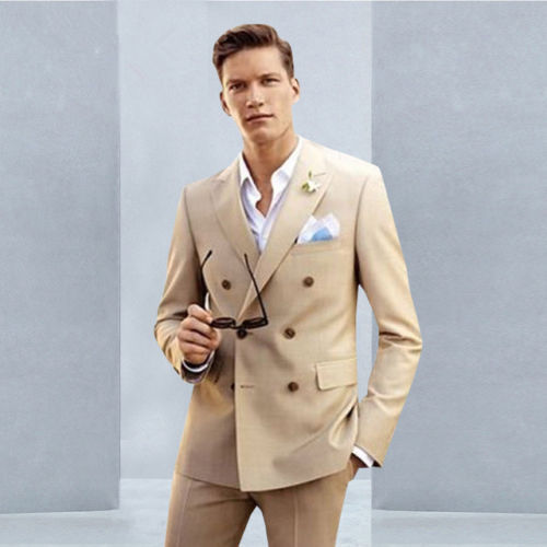 NEW Beige Men Suits Double Breasted Casual Tuxedo Blazers Formal 2 PCS Custom