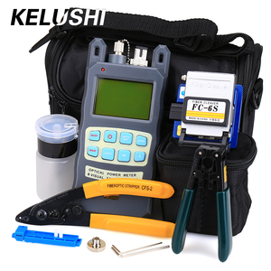 KELUSHI 9pcs/set FTTH Tool Kit with FC-6S Fiber Cleaver and Optical Power Meter 10mW Fiber Optic Stripper Tools