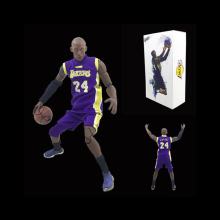 1:9 scale Los Angeles lakers basketball super star Action figures away game No.24 Kobe Bryant with Bracket 22cm model doll toys