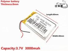 3.7 V 3000 mAH 804060 ポリマーリチウムイオン/リチウムイオン二次電池 DVR 、 GPS 、 mp3 、 mp4