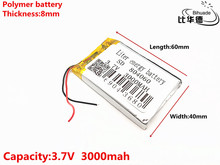 3.7 V 3000 mAH 804060 Polimer lityum iyon/Li ion şarj edilebilir pil için DVR, GPS, mp3, mp4