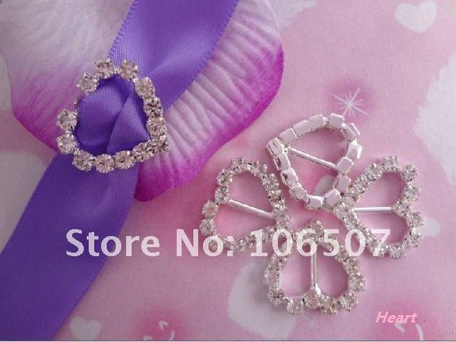 Wholesale and retail FREE SHIPPING 50PCS Heart A-Grade Rhinestone Buckle Ribbon Slider Craft  Wedding Decor
