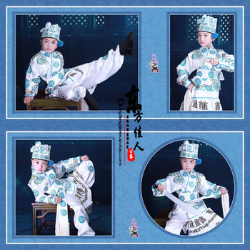 San Cha Kou Little Boy's Costume Opera Costume Little Tang BoHu Male Actor in Opera Photography Costume Cosplay Costume Hanfu